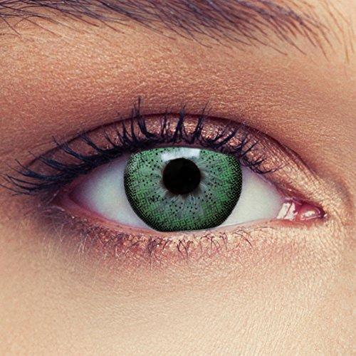 """2 Grüne Kontaktlinsen mit Stärke -1,25 """"Natural Green"""" natürlich farbige Kontaktlinsen Drei Montaslinsen + Gratis Behälter"""