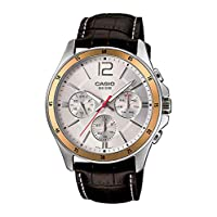 Casio Watch For Men Quartz , Analog Display and Leather Strap MTP1374L-7A