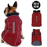 Morezi Retro Design Warm Pet Outfit Kleidung Cozy Winter Hund Pet Jacke Weste Falte Baumwolle 2Farben mit Geschirr Loch