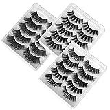 Pestañas Postizas de Pelo Artificial 3D Mixtas 15 Pares Multipack, Tiras Completas, Natural Pestañas Falsa Largas Gruesas Maquillaje de Ojos para Fiesta de Boda, 5 Estilos