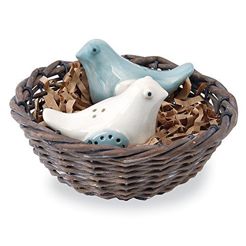 Mud Pie Fresh Jar Salz und Pfeffer Caddy Set, keramik, Bird Nest -