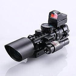 IRON JIA'S Spike Lunettes de visée Fusil Tactique 3-10X42 Portée Laser Rouge et Vert Dot Sight Combo Airsoft Sight Chasse