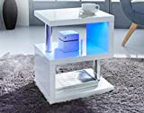 Couchtisch, Beistelltisch, Hochglanz, modernes Design, mit blauer LED-Beleuchtung