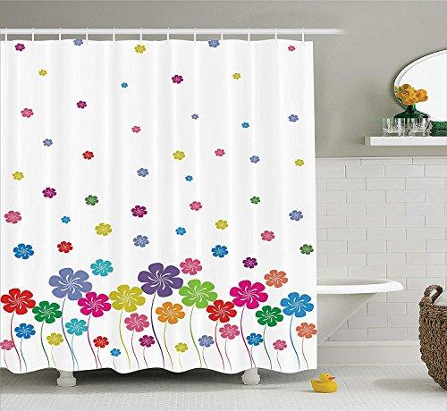 SRJ2018 Haus Dekor Sammlung Bunte Blumen Sommer Landschaft Urlaub Wiese glücklich Spaß Reisen BildStoff Badezimmer Duschvorhang Set mitblau lila grün rosa Wiese-sammlung