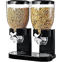 Dispensador doble de cereales y alimentos secos con bandeja de derrame incluida para hogar, cocina