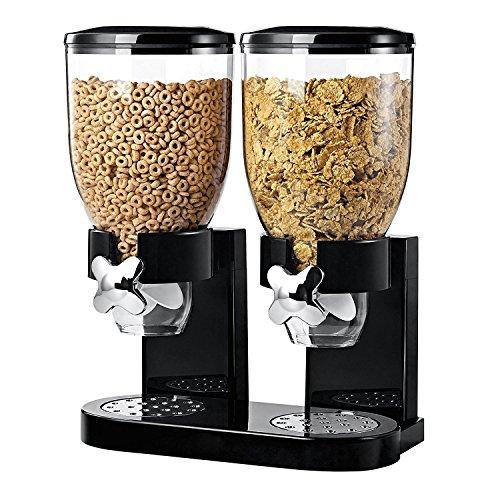 Dispensador doble de cereales y alimentos secos con bandeja de derrame incluida para hogar, cocina, encimeras, desayuno, mascotas, comida para gatos, comida para perros, dulces, despensa y comidas