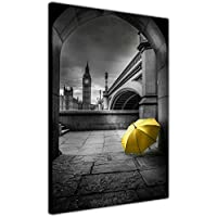Black And White Big Ben Photo With Coloured Umbrella City Prints Canvas Pictures Living Room Bedroom Office 18mm Thick Frame