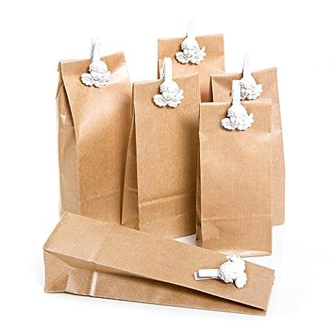 Set 6sachets de brun de papier de cadeau de Noël (7x 4x 20,5cm) et 6petites Ange Blanc Ornement de décoration de pinces en bois (4,5cm) comme cadeau emballage pour Bonbons & Co.