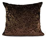 "large plain crush velvet cushions + covers or covers 10 colours 20x20"" or 17x17"" (21""x21"" cushion cover, BROWN)"
