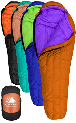 Hyke & byke eolus sacco a pelo mummia con 800 imbottiture in piuma d'oca da -10 & -15 gradi c: sacco a pelo ultraleggero per backpacking (-10 gradi c (arancio scuro/viola), regolare)