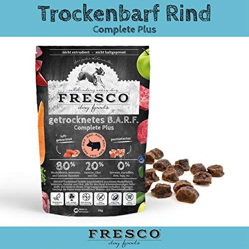 Fresco Hundefutter getreidefrei Trockenfutter für alle Hunde Viel Fleisch Barf artgerecht & unkompliziert Trockenbarf Complete Plus Rind 1kg
