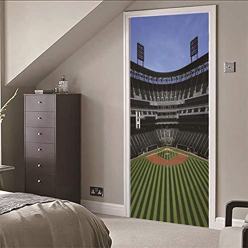 Kunst Aufkleber Baseball Feld Diy Abnehmbare Dekorative Papier Wandbilder Für Zuhause Badezimmer Wohnzimmer Kinder Mädchen Schlafzimmer Nursey Party Decor (77X200Cm) ()