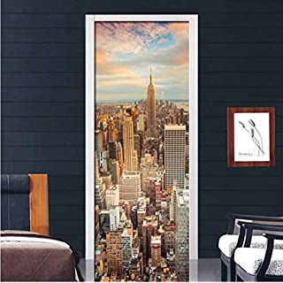 PANDABOOM Stadt Abenddämmerung Architektur Landschaft 3D PVC Selbstklebende Wasserdichte Tür Aufkleber Abziehbilder Wohnzimmer Schlafzimmer Wohnkultur Tapete 45X200Cmx2Pcs