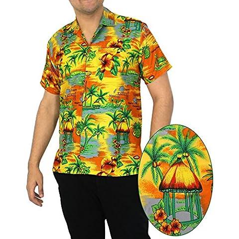 LA LEELA Funky Camicia Hawaiana Uomo XS - 5XL Manica Corta Hawaii Tasca-Frontale Stampa Hawaiano Casuale Regular Fit Arancia1215