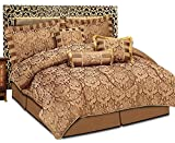 Luxuriöses Bettwäsche-Set, 7-teilig, Jacquard, gestepptes Tagesdecken-Set, Bettwäsche-Set + 2Kissenbezüge: für Doppelbett und Kingsize-Bett, Amazon Chocolate, King Size