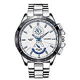 Mode Beiläufig Herrenuhren - Luxus Edelstahl Armband Leuchtend Kleine Dekorative Zifferblätter Quarz Armbanduhren für Herren, Weiß Zifferblatt