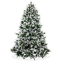 Künstlicher Weihnachtsbaum 210cm Deluxe In Premium Spritzguss Qualität, Angeschneite Nordmanntanne, Tannenbaum Mit Pe Kunststoff Nadeln, Nordmannstanne Christbaum Im Beschneit Design