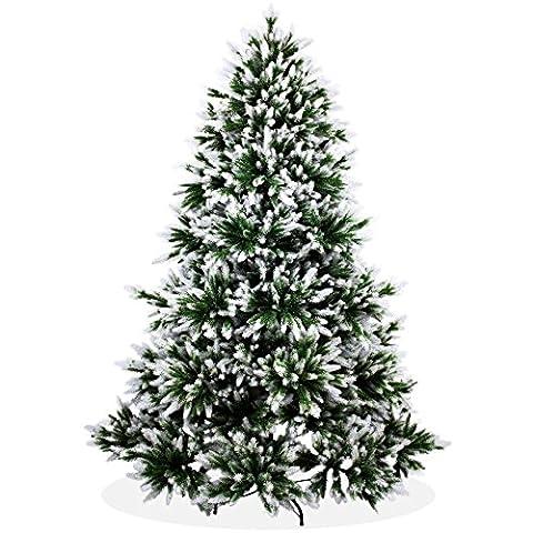 Künstlicher Weihnachtsbaum 210cm DeLuxe in Premium Spritzguss Qualität, angeschneite Nordmanntanne, Tannenbaum mit PE Kunststoff Nadeln, Nordmannstanne Christbaum im beschneit