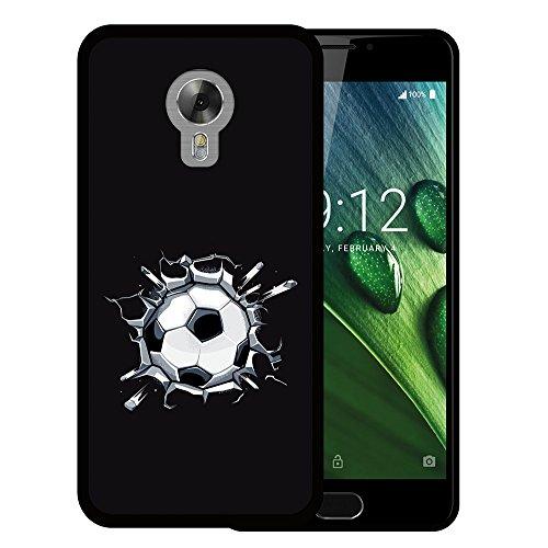 Acer Liquid Z6 Plus Hülle, WoowCase Handyhülle Silikon für [ Acer Liquid Z6 Plus ] Fußball, der den Wand bricht Handytasche Handy Cover Case Schutzhülle Flexible TPU - Schwarz