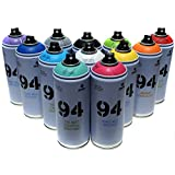 Montana MTN 94 - Vernice spray, 400 ml, set di 12 colori tra i più richiesti per graffiti, street art, murali, aerosol