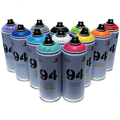Montana MTN 94Spray 400ml, beliebtes Farben-Set von 12 Aerosol-Farben fürGraffiti- und...
