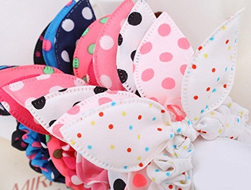 Price comparison product image LIFECART 5Pcs Dot Rabbit Ear Hair Tie Bands Ropes Japan Korean Style Chiffon Ponytail Holder for girl