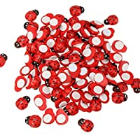 Dojore Pack of 20 Wooden 3D Ladybird Stickers 6mm x 11mm Red with Black Spots. Ideal for Scrapbooking, Cardmaking & Decorating