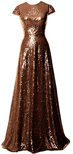 MACloth Women Cap Sleeve Sequin Long Bridesmaid Dress Wedding Party Evening Gown Braun