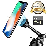 Car Phone Mount, Magnetic Phone Holder for Car Windscreen, Mobile Phone Holders Car Cradle with 360�Rotation Dashboard Extended Compatible with X/ 8/ 7/ 6s/ Plus, S9/S8/S7 Edge, Note 8/ 5/ 4, G6/ V20 and Other Cellphone, Tablets, GPS Units