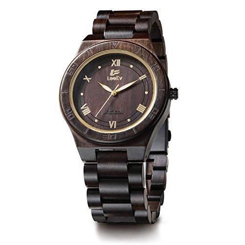 leeev ev1918Herren handgefertigt natur schwarz Sandale Holz Armbanduhr Analog Quarz Licht Gewicht Vintage Holz Armbanduhr