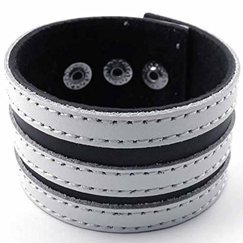 AnaZoz Modeschmuck Edelstahl Herren Armband Stulpe Leausstattung Leichtmetall Passend 7 8 '' Schwarz Weiß