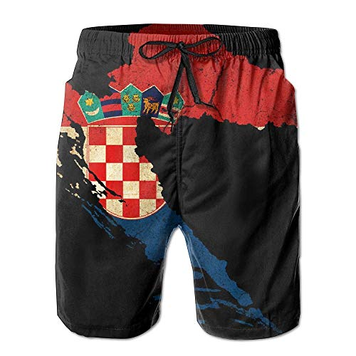Funny&shirt Mens Croatia Map Outline Flag Summer Breathable Quick-Drying Swim Trunks Beach Shorts Cargo Shorts X-Large -