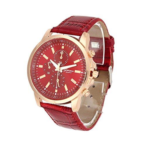 Fasching Karneval Uhren Dellin Unisex Casual Genf Kunstleder Quarz Analog Armbanduhr (Rot)