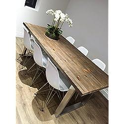 Forma de U, patas de acero inoxidable mesa de comedor, Fernanda (Brown), 8 seater W180xD80xH75cm