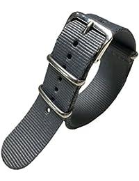 20mm Nylon Watch Strap 20mm Watch Strap Nylon Grey Soft Breathable Men's One-Piece NATO Style Nylon Perlon Watch Bands Straps Textile
