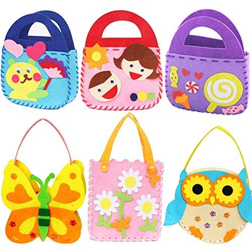 Dsaren 6 pacchi Kit da Cucito Fai da Te per Bambini attività Creative Mestieri Stoffa di Feltro Cucito Borsetta, 6 Modelli