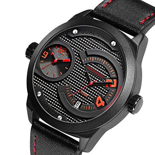 Menton Ezil Männliche Analog Sportuhr Schwarz Big Face Dual Time Wasserdicht Auto Datum Einfache Militär Quarz Armbanduhren