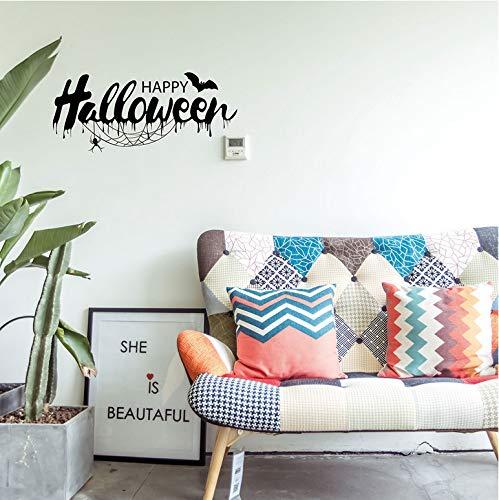 Wandaufkleber Happy Halloween Bats Spider Wandaufkleber Fenster Dekoration Aufkleber Deco (Halloween Um Abc)