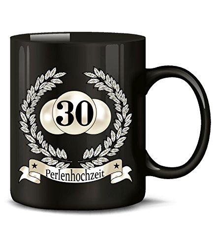 Golebros Hochzeitstag Perlenhochzeit 30 Jahre Ehe 950 Deko Tasse Becher Hochzeitsjubiläum Kaffee Hochzeitstassen Geschenke Männer Frauen Paare Jubiläum Schwarz