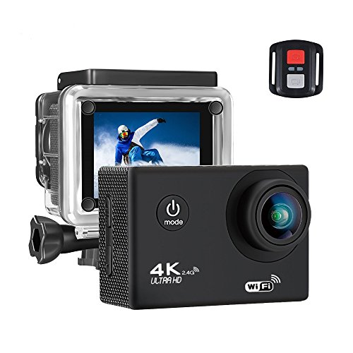 BUIEJDOG Action Kamera WIFI Action Cam 4K Camera 16MP Ultra Full HD Unterwasserkamera wasserdicht Sports Kamera mit 1050mAh Akkus und 18 kostenlose Accessoires