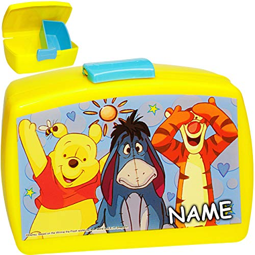 alles-meine.de GmbH Lunchbox / Brotdose -  Disney - Winnie Pooh  - inkl. Name - BPA frei - mit extra Einsatz / herausnehmbaren Fach - Brotbüchse Küche Essen - für Mädchen & Jun.. (Pooh Toy The Winnie Box)