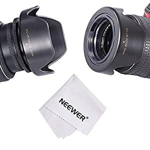 Neewer® 52mm Paraluce Reversibile a Forma Fiore per Fotocamera DSLR NIKON D3300 D3200 D3100 D3000 D5200 D5100 D5000 + Panno