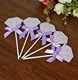 MwaaZ Can Decorate Your Party Diamond Cake Insert Card Wedding Dessert Table Decoration Birthday Party Supplies(Purple)