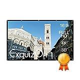 """ExquizOn 100"""" Pantalla para Proyector de Montaje en Pared Techo Portátil, Pantalla de Proyección Plegable 16: 9 para el Hogar y el Uso al Aire Libre, 221 cm x 125 cm"""