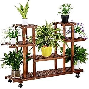 Yaheetech scaffale porta fiori piante in legno a scala con - Porta piante da interno ...