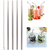 HitTime 5PCS Eco Friendly Reusable Straight Stainless Steel Drinking Straws Set With Cleaner Brush Default