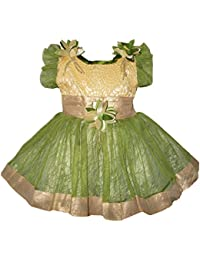 ALL ABOUT PINKS' Ethnic Frock in Dark Green Colour for Girl Baby (6 to 12 Months)