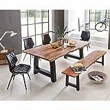 Pharao24 Esszimmer Tischgruppe mit Baumkantentisch und Bank Loft Design (6-teilig) Breite 180 cm Tiefe 90 cm