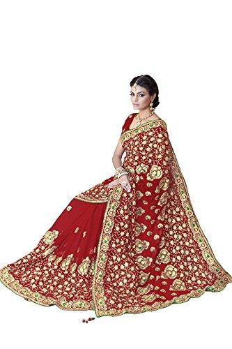 Bollywood Frauen Braut Hochzeit Saree Mirchi Fashion bestickt indischen Sari (Sari Indische Weiße)