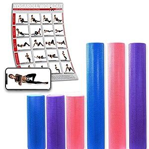 POWRX Yoga-Rolle inkl. Workout/Pilates-Rolle/Schaumstoff-Rolle/Foam-Roller/Faszien-Training/Selbstmassagerolle 45 cm oder 90 cm x 15 cm Blau Lila Pink